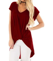 zanzea mujeres más pullover tee tapa de la camiseta de la túnica de la blusa beach party -rojo