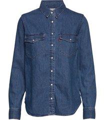 essential western going steady långärmad skjorta blå levi´s women