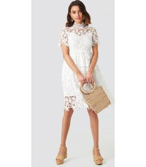na-kd boho high neck short sleeve lace dress - white