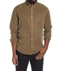 men's nn07 levon slim fit button-down shirt, size x-large - green