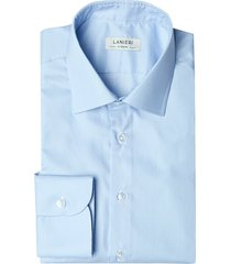 camicia da uomo su misura, albini, azzurra micro righe, quattro stagioni | lanieri