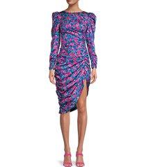 for love & lemons women's annie floral ruched dress - cobalt - size xxs