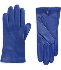 women's nordstrom lambskin leather gloves, size medium - blue