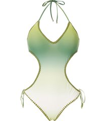 amir slama crochet gradient one-piece - green