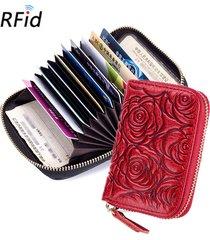 rfid portafoglio donna vera pelle portafoglio corto 9 porta carte con portamonete
