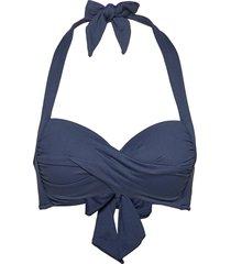 twist soft cup halter bikinitop blauw seafolly
