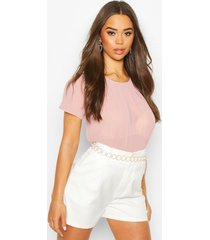 pleat front cap sleeve shell top, nude