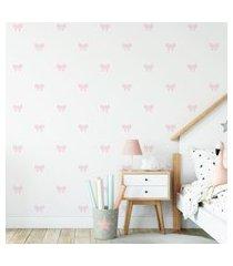 adesivo de parede de laços rosa bebê clarinho 60un cobre 4m²