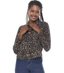 blusa manga larga print leopardo  corona