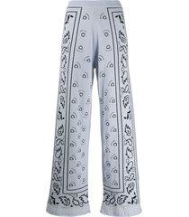 barrie bandana pattern wide-leg trousers - blue