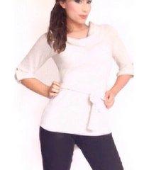 blusa en hilo cuello flojo sarab/crema