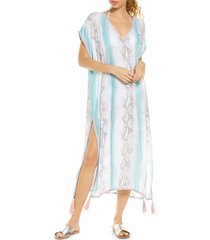 women's surf gypsy tie dye cover-up caftan, size medium - white