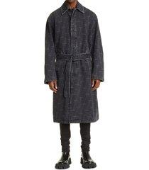 men's balenciaga logo denim trench coat, size 36 us - black