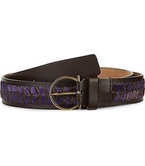 leather & raffia belt
