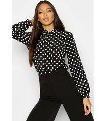 blouse met strik, hoge hals en stippen, zwart