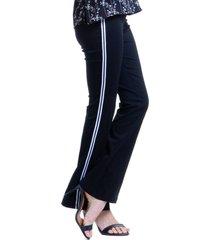 calça 101 resort wear flare com faixa alfaiataria bengaline preta