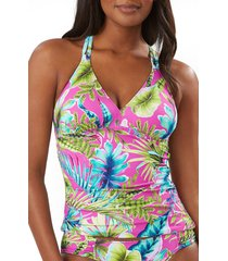 women's tommy bahama sun kissed reversible tankini top, size small - blue