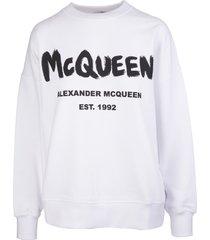 alexander mcqueen woman white mcqueen graffiti sweatshirt