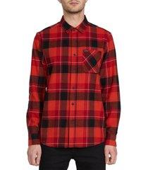volcom men's caden flannel plaid shirt