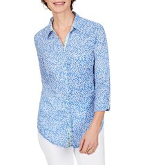 women's foxcroft zoey coral reef cotton voile button-up shirt, size 12 - blue