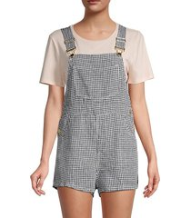 basic gingham linen short overalls