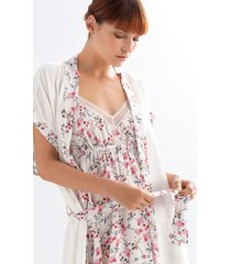 kimono en viscosa ref 15620. color marfil claro