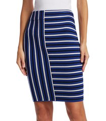 akris punto women's square stripe wool knit pencil skirt - lake desert - size 10