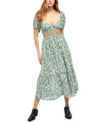 women's free people ellie print smocked midi dress, size x-large - green