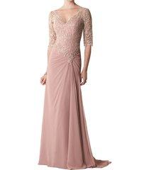 dislax v-neck half sleeve lace appliqued chiffon mother of the bride dresses blu