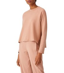 women's eileen fisher raglan sleeve sweatshirt, size xx-small - beige