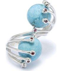 anel kumbayá ultimate  semijoia banho de ródio pedra turquesa e cravaçáo de zircônia rubi - tricae