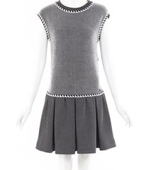 chanel silk knit drop waist dress black/white sz: s