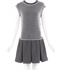 chanel silk knit drop waist dress