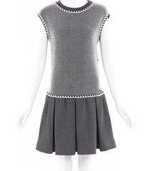 chanel silk knit drop waist dress