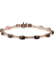 le vian women's 14k strawberry gold®, chocolate quartz® & vanilla diamonds® bracelet