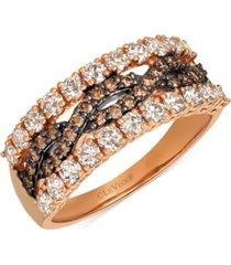 le vian chocolate diamond & nude diamond statement ring (1-1/4 ct. t.w.) in 14k rose gold