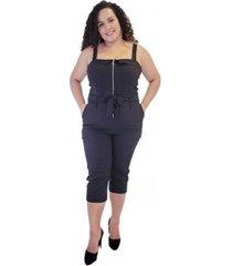 macacão bengaline com zíper e bolsos massambani plus size feminino