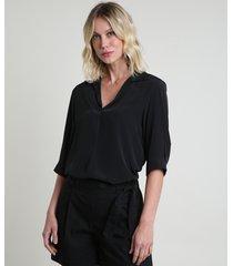 camisa feminina ampla manga 3/4 preta