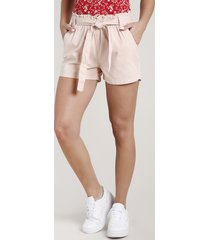 short de sarja feminino clochard cintura super alta com faixa para amarrar rosê