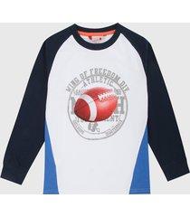 camiseta manga larga blanco-azul-naranja boboli