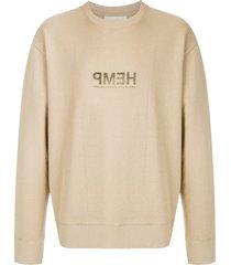 osklen slogan-print long-sleeves sweatshirt - neutrals