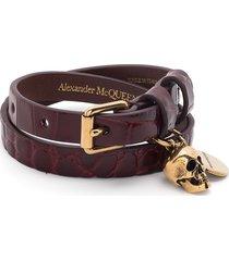 alexander mcqueen skull-motif wraparound bracelet - red