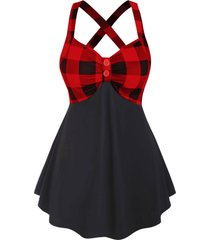 plaid panel two buttoned criss cross back plus size tank top