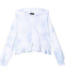 monnalisa white sweatshirt with hood and print