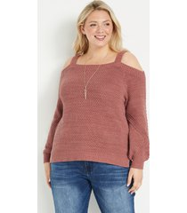 maurices plus size womens solid cold shoulder blouson sleeve sweater brown
