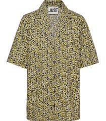 dove shirt overhemd met korte mouwen geel just female