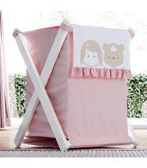 cesto de roupas amiguinhas realeza 68cm grã£o de gente rosa - rosa - menina - dafiti