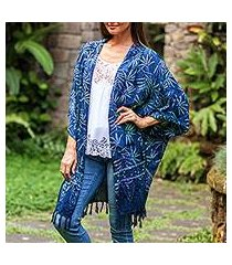 batik rayon kimono jacket, 'denpasar lady in blue' (indonesia)