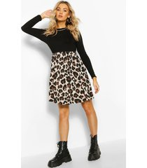 gesmokte luipaardprint jurk met contrasterende mouwen, zwart