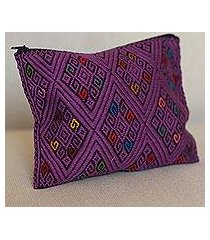 cotton clutch, 'diamond patterns in amethyst' (mexico)